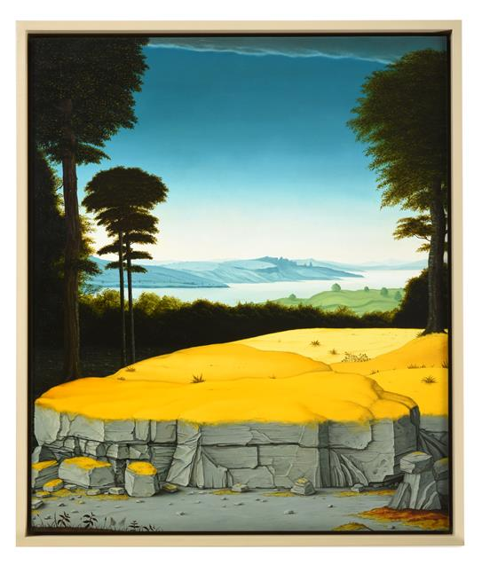 John Stark (b.1979) ''August'' Signed verso, inscribed and dated (20)09 verso, oil on board, 50. - Image 2 of 2