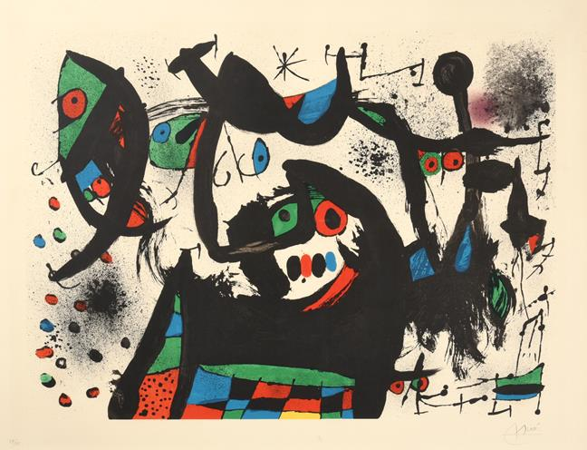Joan Miró (1893-1983) Spanish Abstract Signed and numbered 59/75, lithograph, 63cm by 83cm Artist'
