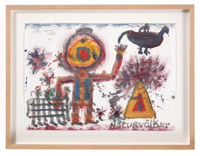 Alan Davie (1920-2014) Scottish ''Naturvölker'' Signed, inscribed and dated 2013, oil on paper, 21cm - Image 2 of 2