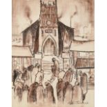 William Ralph Turner FRSA (1920-2013) Figures before a church Signed and dated 1970, pencil and