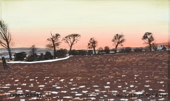 Peter Brook RBA (1927-2009) ''The Last of the Snow'' Signed and inscribed, oil on board, 17.5cm by