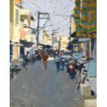 Ken Howard OBE, RA, RBA, NEAC (b.1932) ''Sadar Bazar, India'' Signed, inscribed verso, oil on board,