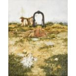 John Ridgewell (1937-2004) Landscape with archway and wasps Signed, oil on canvas, 91cm by 71cm