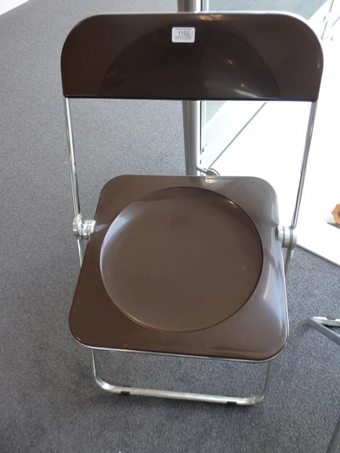 A Platone Folding Table, designed by Giancarlo Piretti, brown moulded perspex, on chrome steel base, - Image 11 of 28