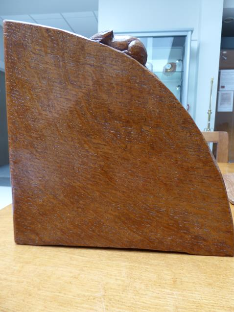 Workshop of Robert Mouseman Thompson (Kilburn): An English Oak Book Trough, with carved mouse - Image 5 of 8