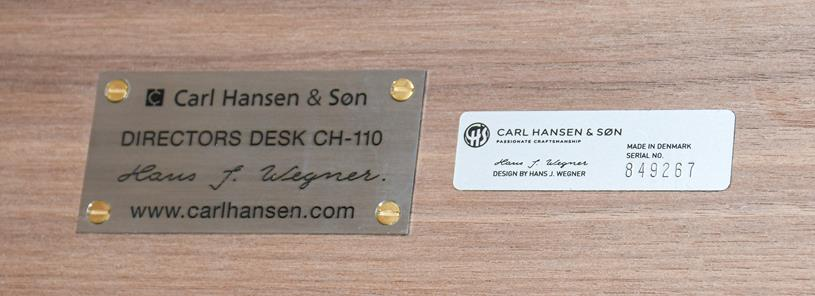 A Carl Hansen & Son Walnut CH110 Directors Desk, with two slender drawers, each with dividers - Image 2 of 9