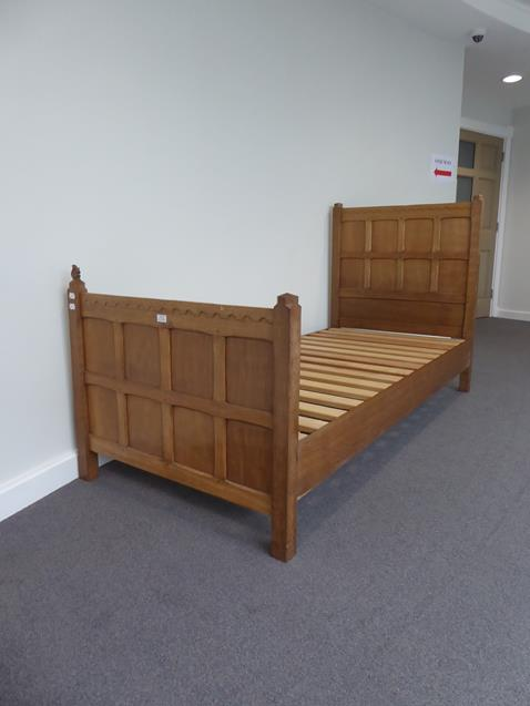 Squirrelman: Wilfrid Hutchinson (Husthwaite): An English Oak 3ft Panelled Bedstead, with carved - Image 3 of 9
