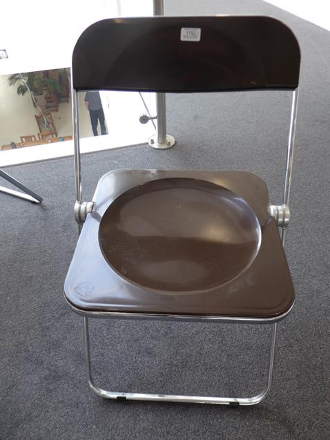 A Platone Folding Table, designed by Giancarlo Piretti, brown moulded perspex, on chrome steel base, - Image 19 of 28
