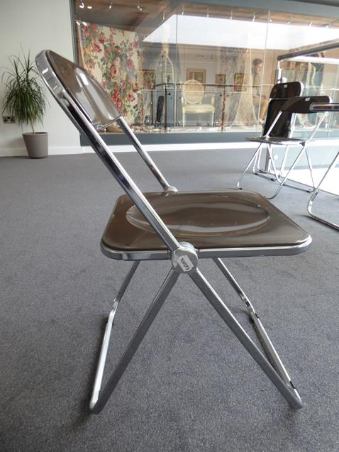 A Platone Folding Table, designed by Giancarlo Piretti, brown moulded perspex, on chrome steel base, - Image 26 of 28