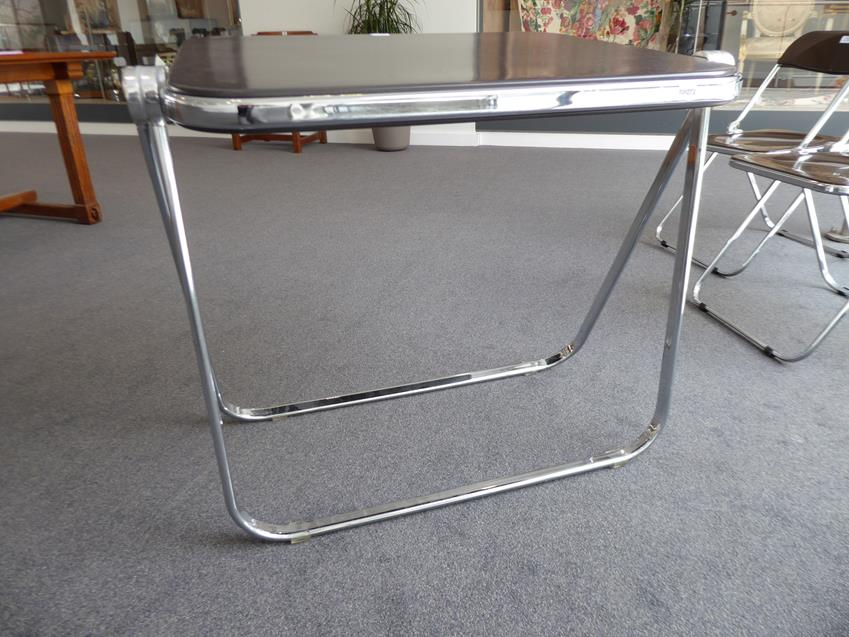 A Platone Folding Table, designed by Giancarlo Piretti, brown moulded perspex, on chrome steel base, - Image 8 of 28