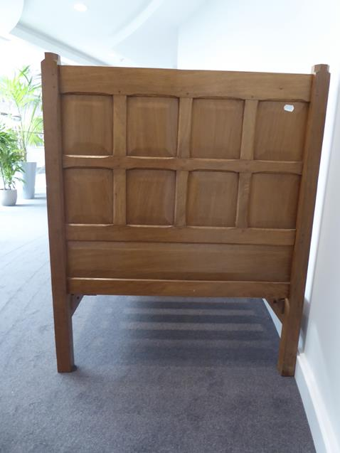 Squirrelman: Wilfrid Hutchinson (Husthwaite): An English Oak 3ft Panelled Bedstead, with carved - Image 7 of 9