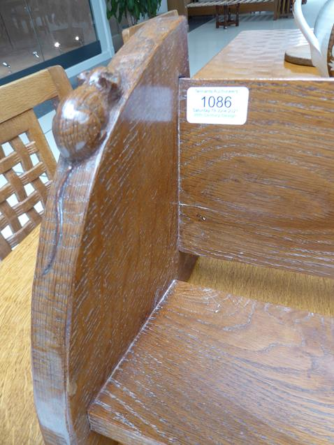 Workshop of Robert Mouseman Thompson (Kilburn): An English Oak Book Trough, with carved mouse - Image 7 of 8