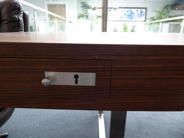 A Carl Hansen & Son Walnut CH110 Directors Desk, with two slender drawers, each with dividers - Image 6 of 9