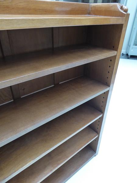 Workshop of Robert Mouseman Thompson (Kilburn): An English Oak 4ft Open Bookcase, solid ends and - Image 16 of 16