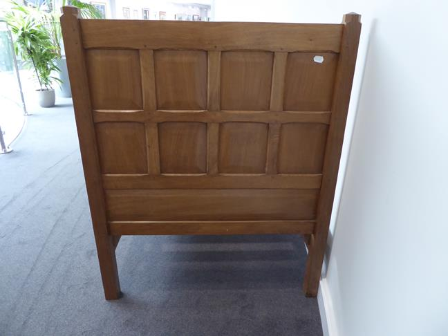 Squirrelman: Wilfrid Hutchinson (Husthwaite): An English Oak 3ft Panelled Bedstead, with carved - Image 6 of 9