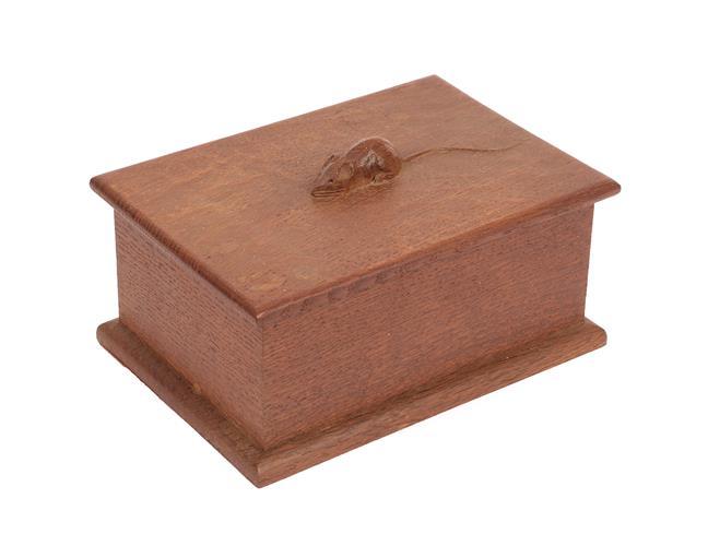 Workshop of Robert Mouseman Thompson (Kilburn): An English Oak Bespoke Box and Cover, c.1972, the