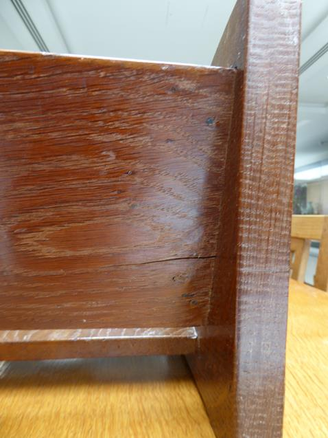 Workshop of Robert Mouseman Thompson (Kilburn): An English Oak Book Trough, with carved mouse - Image 3 of 8