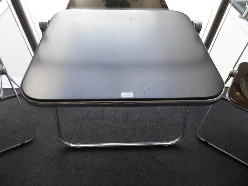 A Platone Folding Table, designed by Giancarlo Piretti, brown moulded perspex, on chrome steel base, - Image 2 of 28