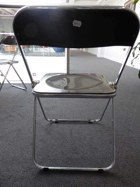 A Platone Folding Table, designed by Giancarlo Piretti, brown moulded perspex, on chrome steel base, - Image 20 of 28