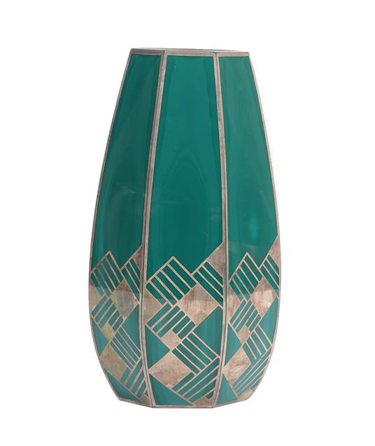 An Art Deco Continental Faceted Malachite Glass Vase, with repeating silver overlay decoration,