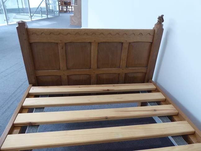 Squirrelman: Wilfrid Hutchinson (Husthwaite): An English Oak 3ft Panelled Bedstead, with carved - Image 5 of 9