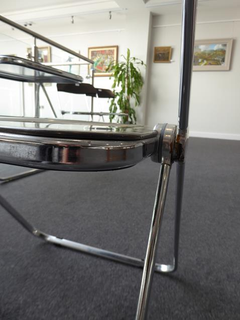 A Platone Folding Table, designed by Giancarlo Piretti, brown moulded perspex, on chrome steel base, - Image 14 of 28