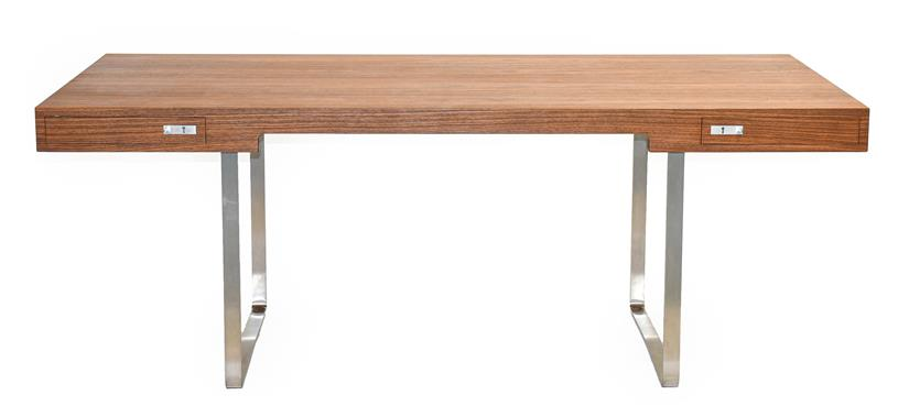 A Carl Hansen & Son Walnut CH110 Directors Desk, with two slender drawers, each with dividers