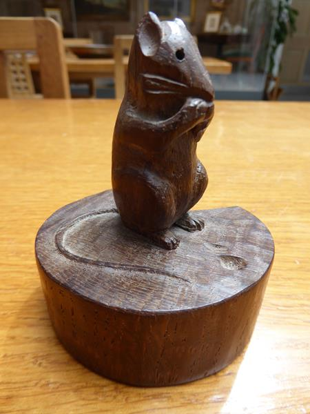 Robert Mouseman Thompson (1876-1955): An English Oak Mouse on a Wedge, the mouse carved on it's - Image 2 of 6