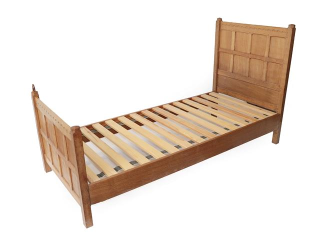 Squirrelman: Wilfrid Hutchinson (Husthwaite): An English Oak 3ft Panelled Bedstead, with carved - Image 2 of 9