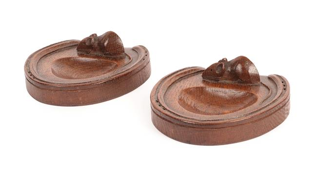 Workshop of Robert Mouseman Thompson (Kilburn): A Pair of English Oak Horse Shoe Pin Trays, each - Image 2 of 2