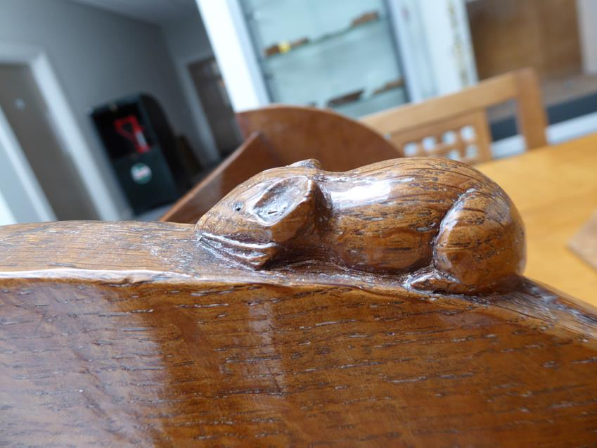 Workshop of Robert Mouseman Thompson (Kilburn): An English Oak Book Trough, with carved mouse - Image 6 of 8