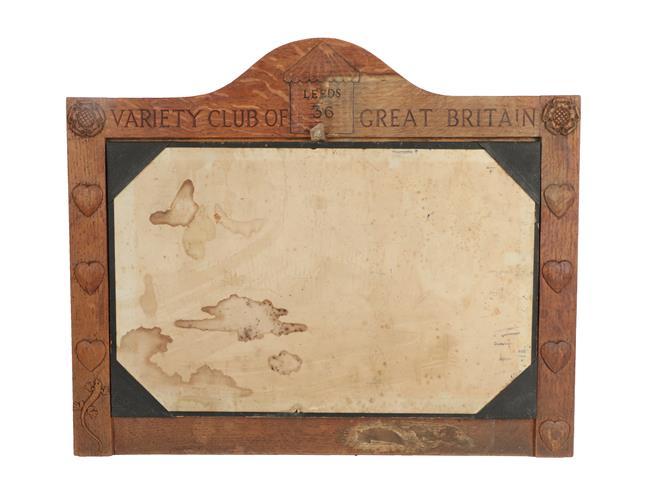Lizardman: Martin Dutton (Huby): An English Oak Notice Board, carved VARIETY CLUB OF GREAT BRITAIN