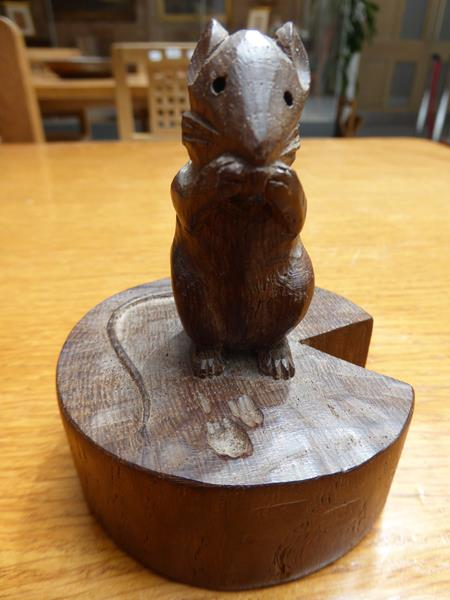 Robert Mouseman Thompson (1876-1955): An English Oak Mouse on a Wedge, the mouse carved on it's - Image 5 of 6