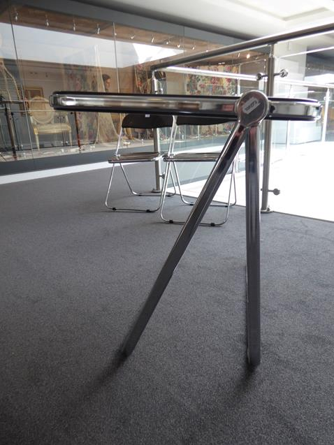 A Platone Folding Table, designed by Giancarlo Piretti, brown moulded perspex, on chrome steel base, - Image 5 of 28