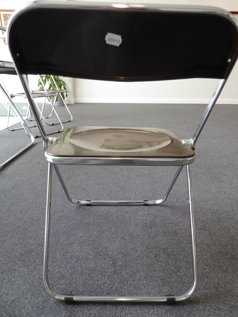 A Platone Folding Table, designed by Giancarlo Piretti, brown moulded perspex, on chrome steel base, - Image 13 of 28