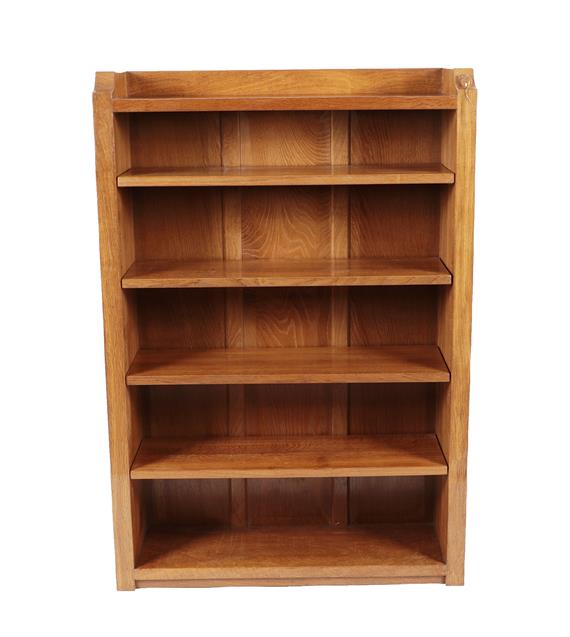 Workshop of Robert Mouseman Thompson (Kilburn): An English Oak 4ft Open Bookcase, solid ends and