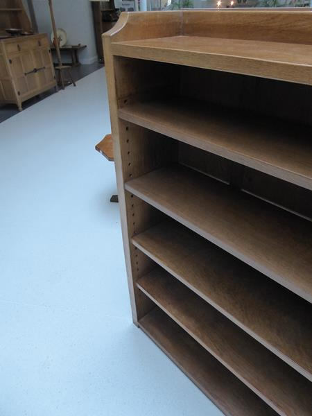 Workshop of Robert Mouseman Thompson (Kilburn): An English Oak 4ft Open Bookcase, solid ends and - Image 15 of 16