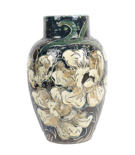 A Thomas Forester & Sons Ltd Pottery Baluster Vase, painted with white flowers, printed factory