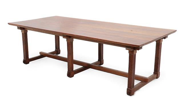 An Arts & Crafts Oak 8ft Library Table, possibly to a design by Alfred Waterhouse, the rectangular