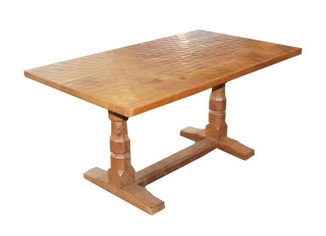 Workshop of Robert Mouseman Thompson (Kilburn): A 5ft English Oak Refectory Dining Table, the
