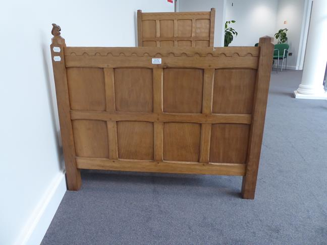 Squirrelman: Wilfrid Hutchinson (Husthwaite): An English Oak 3ft Panelled Bedstead, with carved - Image 4 of 9