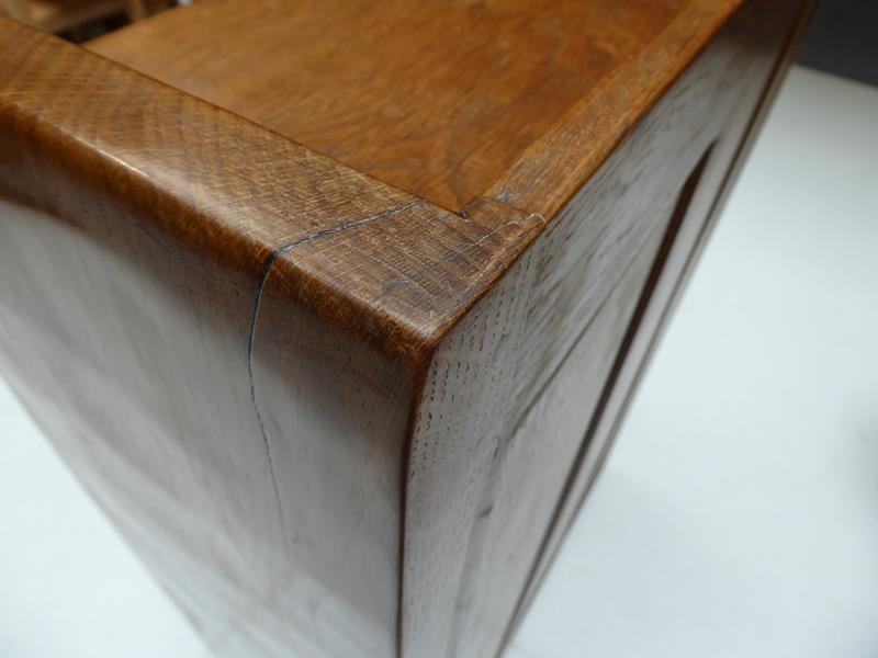 Workshop of Robert Mouseman Thompson (Kilburn): An English Oak 4ft Open Bookcase, solid ends and - Image 11 of 16