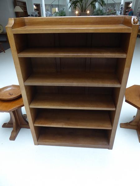 Workshop of Robert Mouseman Thompson (Kilburn): An English Oak 4ft Open Bookcase, solid ends and - Image 4 of 16