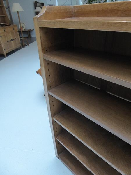 Workshop of Robert Mouseman Thompson (Kilburn): An English Oak 4ft Open Bookcase, solid ends and - Image 14 of 16