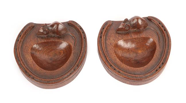 Workshop of Robert Mouseman Thompson (Kilburn): A Pair of English Oak Horse Shoe Pin Trays, each