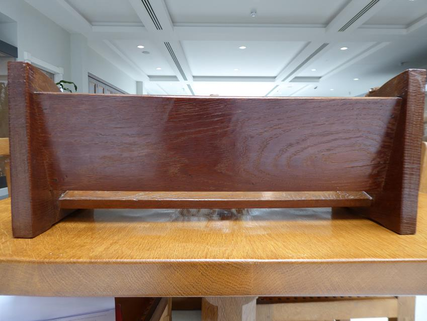 Workshop of Robert Mouseman Thompson (Kilburn): An English Oak Book Trough, with carved mouse - Image 2 of 8