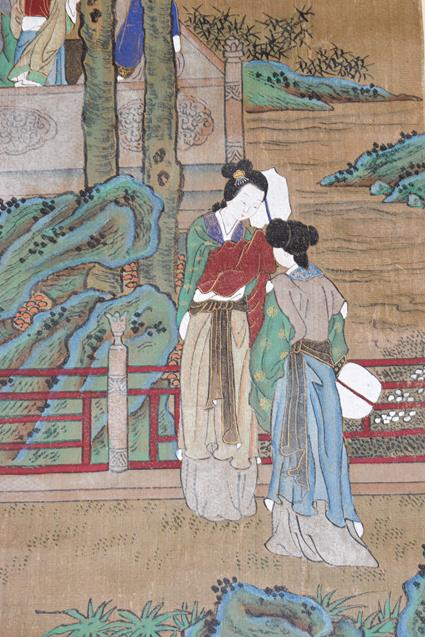Six 20th century Chinese watercolour scrolls, five decorated with figures in landscapes and one - Image 9 of 18