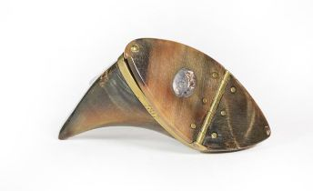 A George III Brass-Mounted Cow Horn Snuff-Box, irregularly shaped, the plain rim engraved 'D.A.