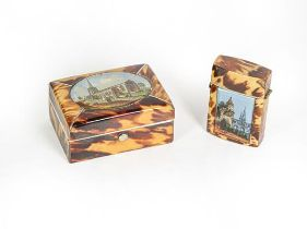 A Bone and Tortoiseshell Veneered Trinket-Box and Vesta-Case, each oblong, the hinged cover of the