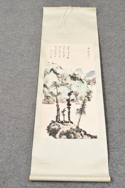 Five 20th century Chinese watercolour scrolls, decorated with landscapes, blossoms and - Image 8 of 15